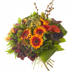 Forest stroll is a lovely autumn bouquet made with beautiful orange autumn flowers