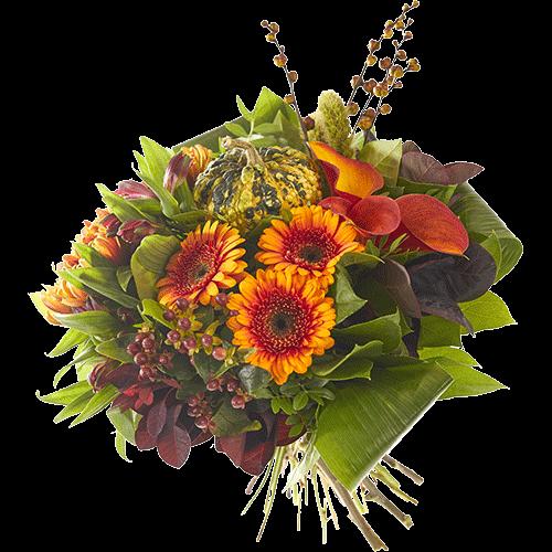 Het herfstboeket Boswandeling wordt gemaakt met mooie bloemen in oranje herfsttinten