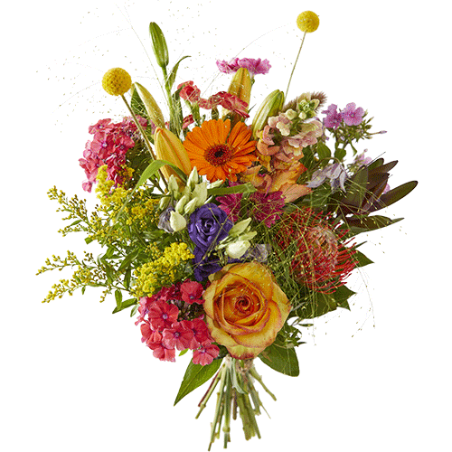 Cheerful fall is a nice autumn bouquet made with beautiful flowers in strong fall colors