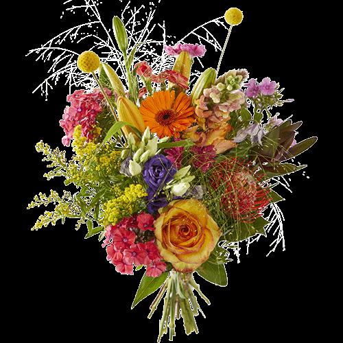 Het herfstboeket Fleurig Najaar bevat bloemen in krachtige herfstkleuren