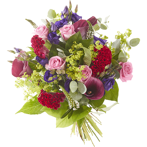 Autumn day is a lovely autumn bouquet made with beautiful red, pink and purple autumn flowers