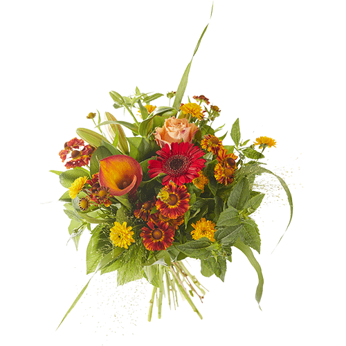 Autumn storm is a lovely autumn bouquet made with beautiful red and orange autumn flowers