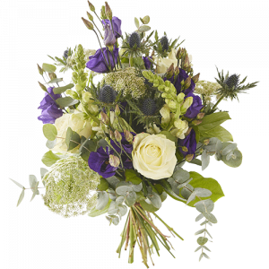 Autumn Tide is an autumn bouquet made with beautiful white and purple flowers.