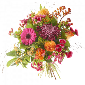 Fall glow is a lovely autumn bouquet made with flowers in warm and cheerful autumn shades