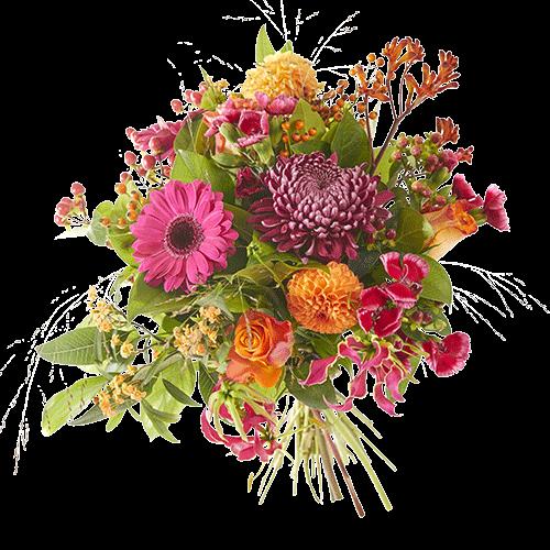 Vrolijk gekleurd herfstboeket Najaarsgloed met bloemen in veel verschillende kleuren