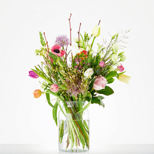 Boeket zachte tulp met alium en anemoon