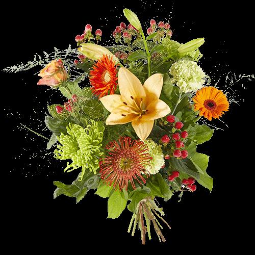 Gemengd boeket met verschillende oranje bloemen
