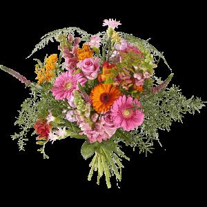 Boeket met roze en oranje bloemen