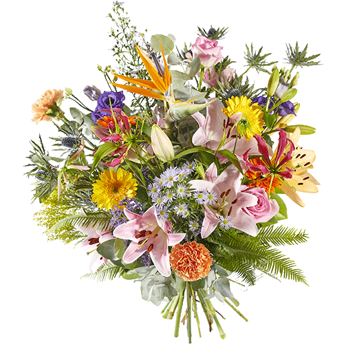 Vrolijk voorjaarsboeket met prachtige bloemen