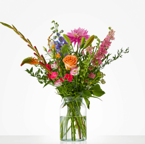 Summer bouquet with roses, delphinium and gladiolus