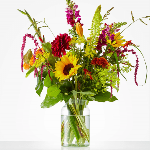 The 'Bouquet of August' is made with sunflowers, hypericum, snapdragon