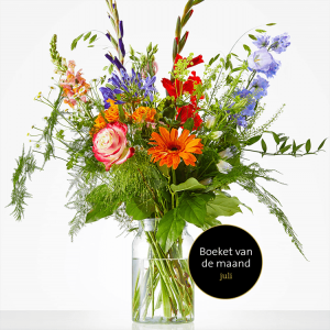 Bouquet of July with gladioli, roses and gerbera