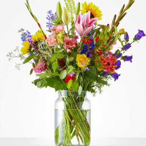 Delightful bouquet with summer flowers