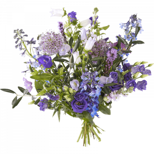 Beautiful summer field bouquet in purple and floral shades